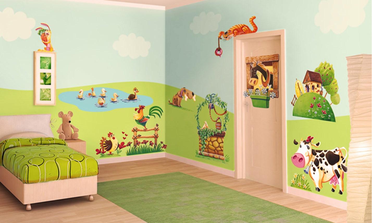 Stickers murali bambini cameretta l 39 allegra fattoria leostickers - Adesivi per cameretta bambini ...